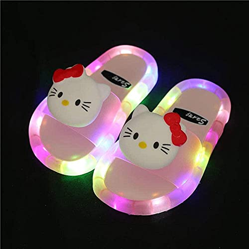 Zuecos Sanitarios Mujer,Powarm Children Glow Sandalias Sandalias Sandalias Y Zapatillas para NiñOs Led Led Led Suaves Zapatillas Antideslizantes con Luces-Rosa 02_32-33 Yardas