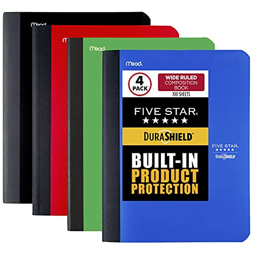 """Five Star DuraShield Composition Book with Antimicrobial Cover, 1 Subject, Wide Ruled Notebook, 10-1/2"""" x 8"""", 100 Sheets, Assorted, 4 Pack (950008-ECM)"""