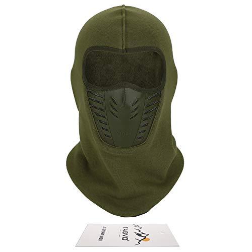 TAGVO Warmsturmhaube Gesichtsmaske mit atmungsaktivem Mesh-Silikon-Panel, Winter Fleece-Nackenwärmer Winddicht, Fit-Helm Hut für Erwachsene Frauen und Manner - Schwarz/Armee-Grün Universal Größe
