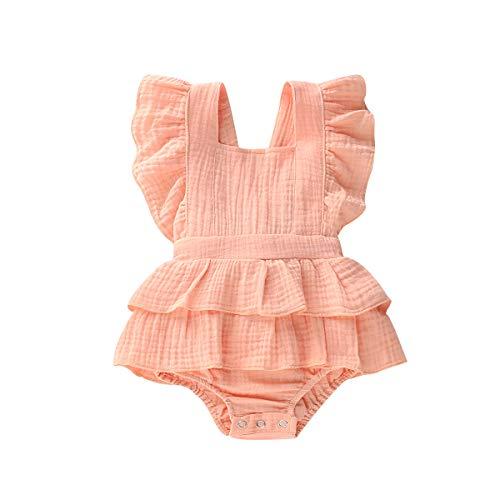 Neonate Neonate Ruffle Pagliaccetto Solido Senza Maniche Tuta Bottoni Tuta Senza Schienale Tuta Bambini Tute Vestiti Estivi Abiti (Pink, 0-3 Months)