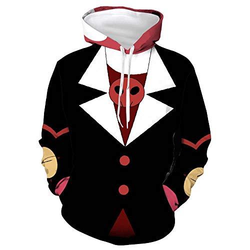 Digitaldruck Hoodie Anime Cosplay Hölle Inn Digitale 3D-Druck animierte mit Kapuze Pullover Absicherung Animation COS,Hölle Inn - Schwarze Pullover,S
