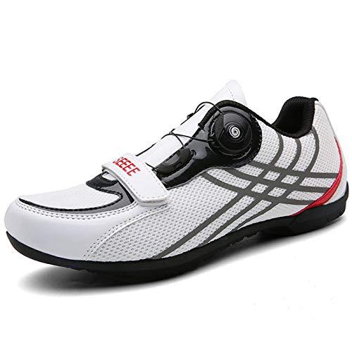 AGYE Zapatillas Bicicleta Carretera, Zapatillas de Ciclismo para Mujeres y Hombres,Zapatillas de Bicicleta de Carretera para Hombres y Mujeres de Ocio de Primavera y Verano,White-44