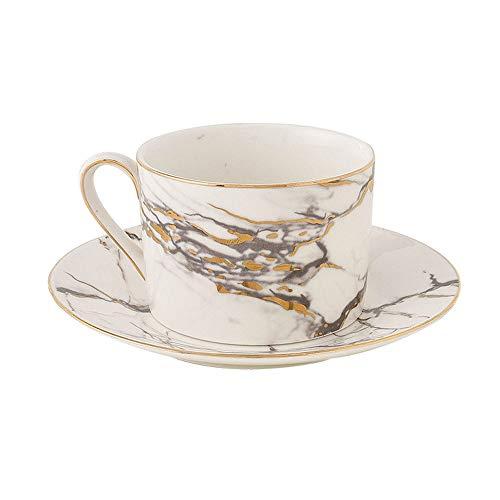 SXXYTCWL Taza de café y platillo Conjunto de cerámica de mármol Oficina de la Oficina de la Oficina del Desayuno de la Tarde del té de la Tarde de la Tarde Copa pequeña Capacidad pequeña para Limpiar