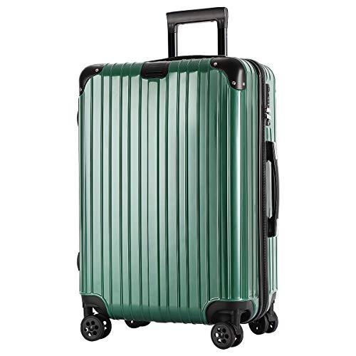 SAHASAHA スーツケース キャリーケース キャリーバッグ ファスナー式 アルミフレーム式 安心保証 機内持ち込みサイズから 傷が目立ちにくい TSAロック ハードキャリー ジッパー 人気色 全サイズ 有り (グリーン ファスナー, 機内持込サイズ(1
