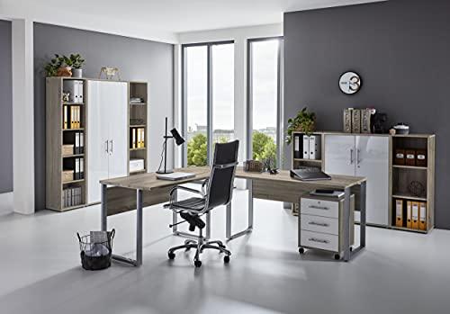 Büromöbel Arbeitszimmer Home Office komplett Set Office Edition (Set 5) in Eiche Sonoma/Weiß – Made in Germany