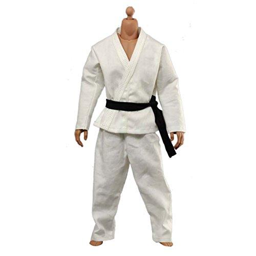 """FLAMEER 1/6 Blanco Karate Judo Traje De Entrenamiento De Wu Shu Queda La Ropa 12 \""""Figura De Acción"""