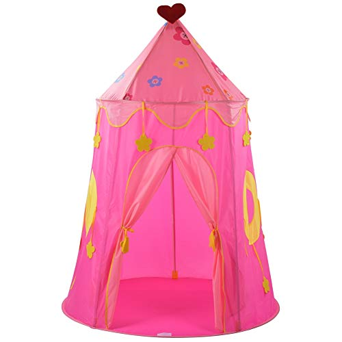 Nunafey Princess Castle Play Tent, Pink Play Tent for Kids with Storage Carry Bag, Foldable Castle Tent Playhouse Toy for Indoor and Outdoor Use