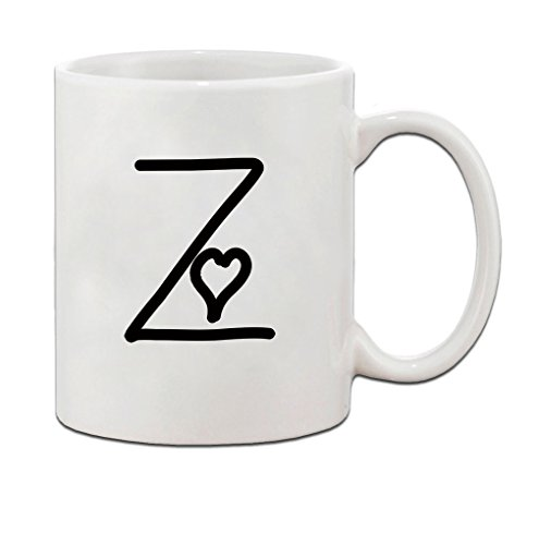 Z Love Hearts Initial Monogram Personalized Letter Z Ceramic Mug Coffe Cup Holiday Christmas Hanukkah Gift For Men & Women