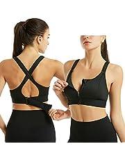Draadloze, ondersteunende sport-bh's voor dames, Comfortabele gewatteerde trainings-bh met ritssluiting voor gym-yoga hardlopen (XL,Zwart)
