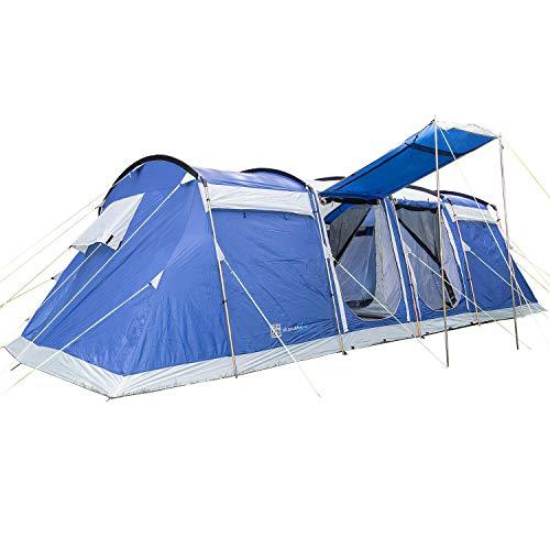 skandika Montana 8 Protect Familienzelt für 8 Personen | eingenähter Zeltboden | 2 trennbare Schlafkabinen | 5000mm Wassersäule | 200 cm Stehhöhe (blau) (blau)