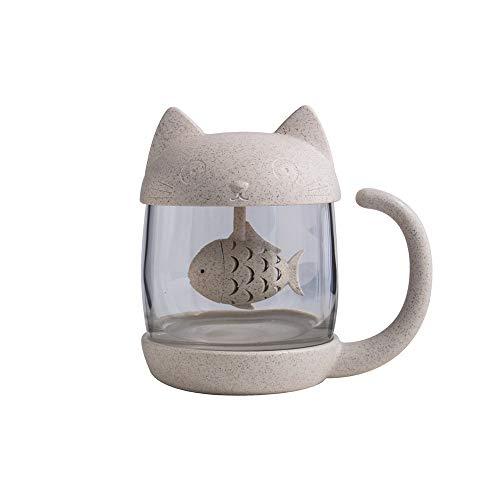 LRHD Schöne Katze Glas-Katze-Greifer-Cup Cartoon Filtertasse, Teetasse Infuser - 250ml - Kleiner Becher mit Deckel und Edelstahl-Filter for lose Blatt-Tee - Tea-for-One