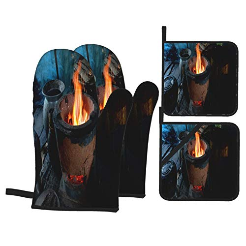 Oven Mitts and Pot Holders 4-Piece SetCooking Equipment According to Country Life with Background and TextureAdvanced Heat Resistance Kitchen Cooking BBQ Gloves