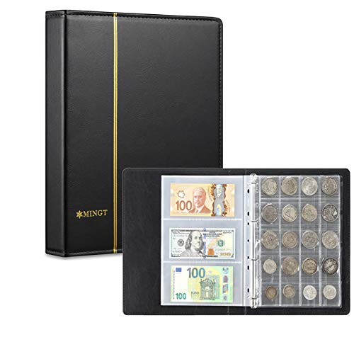 AITIME 2 in 1 Coin Currency Collection Book, 4 Size Coin Pockets and 60 Pockets Paper Money Storage Binder, Penny Quarter Silver Eagles Dollar Banknote Collection Supplies for Collectors