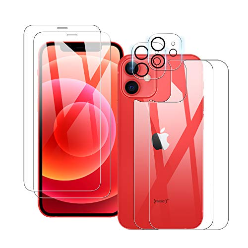 【2+2+2】 QULLOO iPhone 12 mini 用 フィルム+カメラフイルム+背面フィルム 5.4インチ 強化ガラス 露出オーバー防止 2眼 高硬度9H 防指紋 傷防止 耐衝撃 99%高透過率 飛散防止 iPhone12 mini 2020 用 保護フィルム 背面 レンズフィルム