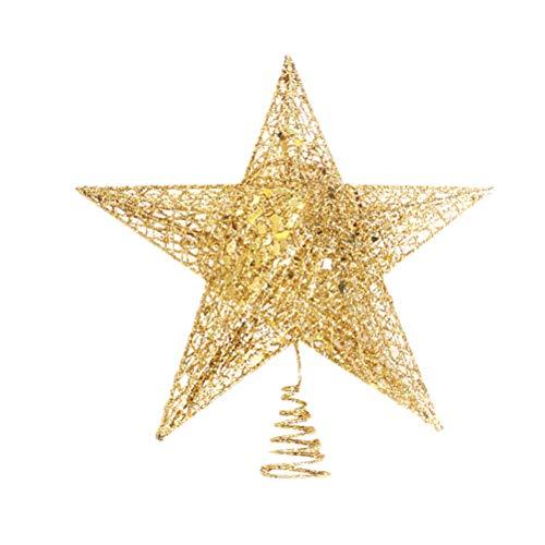 BESTOYARD Estrella de Árbol de Navidad de Cinco Puntas para Árbol de Navidad Decoración Árbol de Navidad (Dorados) 12 cm