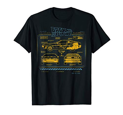 Back To The Future 35th Anniversary DeLorean Schematics T-Shirt, for Adults and Kids