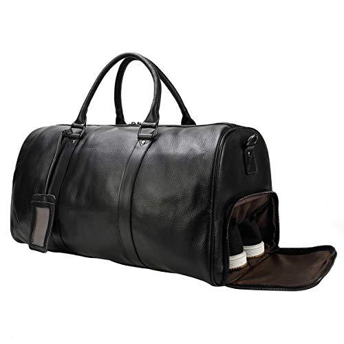LUUFAN Unisex Leather Travel Duffel Bag Vintage Weekend Bag (Black-55cm)