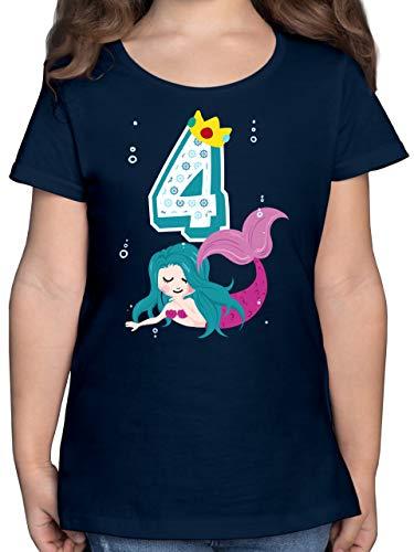Kindergeburtstag Geschenk - Meerjungfrau 4. Geburtstag - 104 (3/4 Jahre) - Dunkelblau - Tshirt 4 Jahre mädchen - F131K - Mädchen Kinder T-Shirt