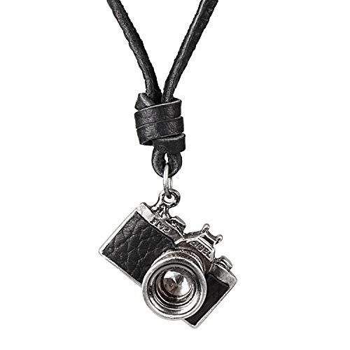 Miss – E – Jewels Vintage Edelstahl Herren Damen Kamera Anhänger Halskette Medaillon Amulett Reporter Leder Talisman Schwarz