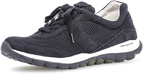 Gabor Damen Sneaker, Frauen Low-Top Sneaker,Optifit- Wechselfußbett, sportschuh Damen Frauen weibliche Lady Ladies,nightbl.(S.w/blau),40 EU / 6.5 UK