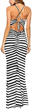 Famulily Women's Sexy Bodycon Backless Striped Long Maxi Dress in Zebra Stripes