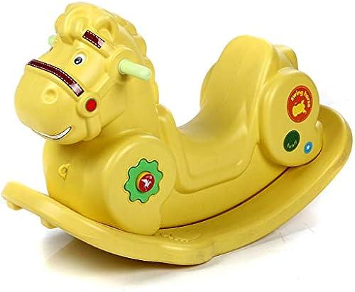 FJH Spielzeug-Alter der Plastikschaukelpferd-Kinder wenig h ernes Pferdesch chenbaby-Schaukelpferdgeburtstagsgeschenk mit Musik (Farbe   Gelb)