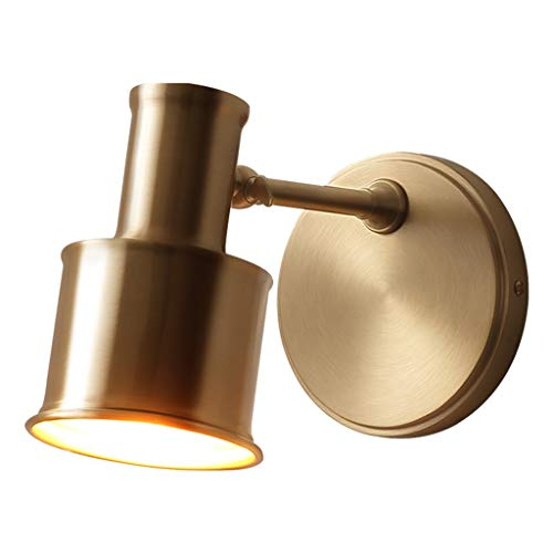 luces pared Cobre Lámpara de pared Baño simple Espejo Linterna Maquillaje Lámpara Metal cepillado Apariencia lamparas terraza