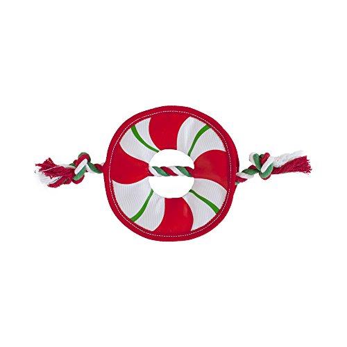 Outward Hound Rope Wreath Fire Biterz Tough Fire Hose Material Christmas Dog Toy