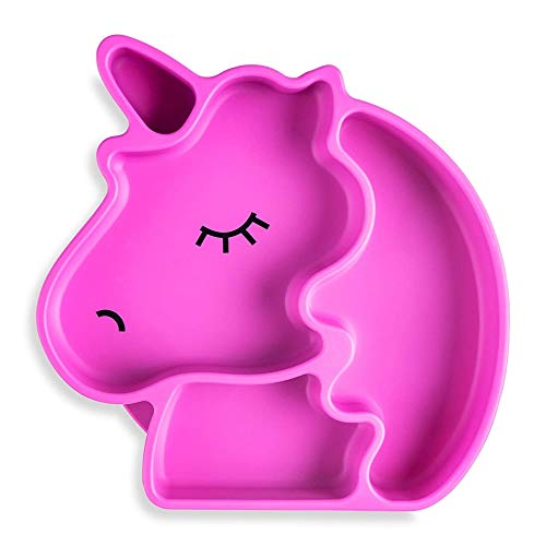 Juliaire Suction Plates for Babies, and Toddlers   Food Grade Silicone Suction Plates - 100%, BPA Free, Unicorn Plate (Pink)