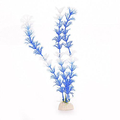 lamta1k Plante aquatique artificielle pour aquarium - Décoration de paysage, arrangements de fleurs réalistes - Décoration d'intérieur (bleu + blanc, M)
