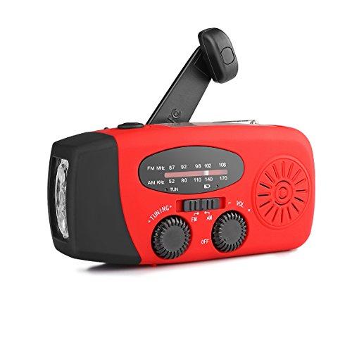 Solaire Alimenté Radio Main Manivelle Soi Alimenté AM/FM Radio avec Chargeur téléphonique Multifonctionnel à 3 LED à LED Puissance Banque Fonction