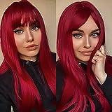 Peluca larga roja Emmor para mujer Pelucas rectas sintéticas de cabello natural con flequillo limpio Pelucas completas Uso diario