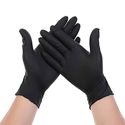 Limado 100 Pcs Disposable Gloves Medical Surgical Nitrile Powder Free Non Vinyl Latex (Black, L)