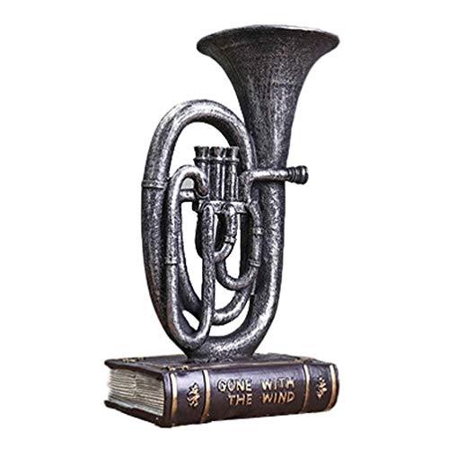 Ybzx Instrumento Musical en Miniatura, Modelo de Cuerno francés Retro, Mesa de Escritorio, Adorno de Resina, Barra, Oficina, decoración del hogar (Plata)