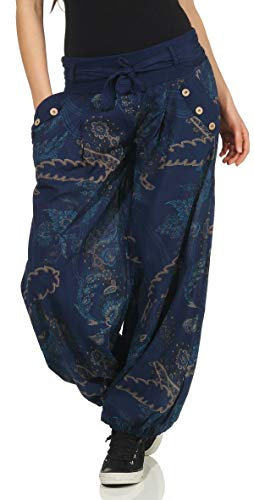 Malito Damen Pumphose mit Print | Bequeme Freizeithose | leichte Stoffhose inkl. Gürtel | Haremshose - lässig 3485 (dunkelblau)