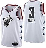 Wo nice Camisetas de baloncesto para hombre, Miami Heat # 3 Dwyane Tyrone Wade uniformes de baloncesto sueltos Tops sin mangas, chalecos, blanco, XXL (185 ~ 190 cm)