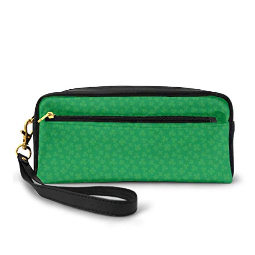 St Patricks Day Shamrock Pattern Canvas Coin Purse Cute Change Pouch Wallet Bag Multifunctional Cellphone Bag with Handle