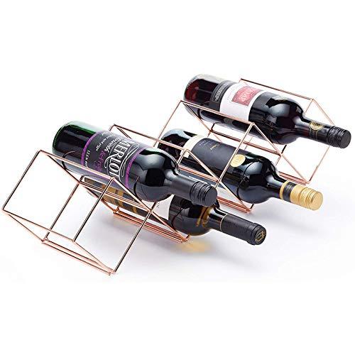 Ryori Weinflaschenregal - stapelbare Aufbewahrung aus pulverbeschichtetem Eisen mit Kupfer - freistehende Metall-Küchenauslage für bis zu 7 Flaschen - modernes geometrisches Design für Minimalisten