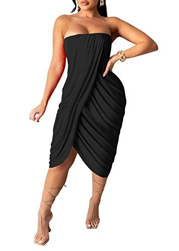 LKOUS Women's Sexy Party Dresses, Off Shoulder Pleats Bodycon Split Long Dress