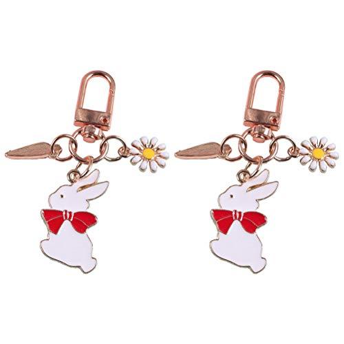 Abaodam 2 colgantes de conejo, elegantes dijes decorativos, bolsas de adornos, llaveros