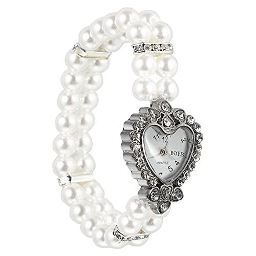 UKCOCO Reloj de Cuarzo para Mujer con Correa de Reloj de Perlas Elástica Reloj de Pulsera Decorativo con Esfera de Corazón de Diamantes de Imitación Reloj Casual de Moda para Niñas