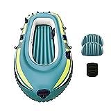 Househome Kayak - Barco hinchable de 3 plazas, para pesca, barco neumático, barco de rastreo plegable para 2-3 personas, fácil de llevar con el diseño hinchable