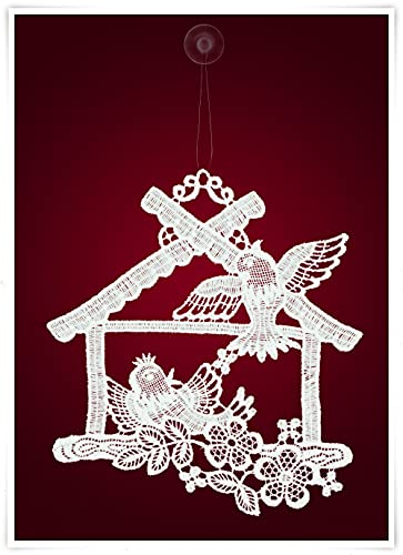 Plauener Spitze Fensterbild Vogelhaus mit Vögeln (Bx H) 20cm * 21cm
