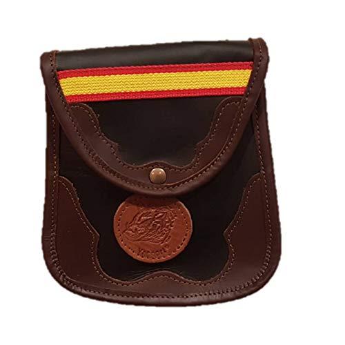 CAZA Y AVENTURA Una Bolsa Ojeo-Bolsa portacartuchos en Piel con Detalle España, con Enganche para llevarla en el cinturón, Cierre con botón.para 40 Cartuchos