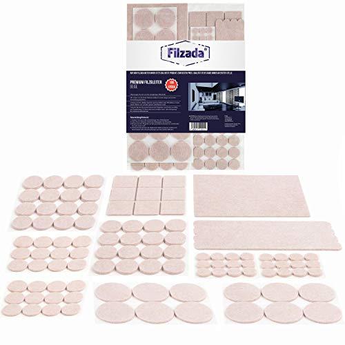 Filzada® Filzgleiter Selbstklebend Set 106 Stück (Eckig und Rund) - Beige - Profi Möbelgleiter Filz Mit Idealer Klebkraft