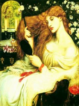globalartdepot 12X16 inch Dante Gabriel Rossetti Portrait Canvas Long Hair Girl