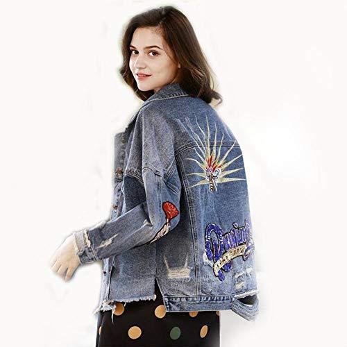 ZVHUK Lässige Jeans Shirt Pailletten Loch Denim Langarm Frauen Herbst Und Winter Jeansjacke Stickerei Jeansjacke Revers Top,Blau,M