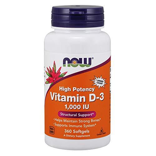 Now Foods, Vitamina D-3, de Alta Potencia, 1.000 UI, 360 Cápsulas blandas, sin soja, sin gluten