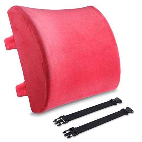 Lumbar Support Pillow, BESTIN Memory Foam Backrest Velvet Orthopedic Cushion Waist Pain Relief Back Buffer for Office Chairs and Car Seats -Red