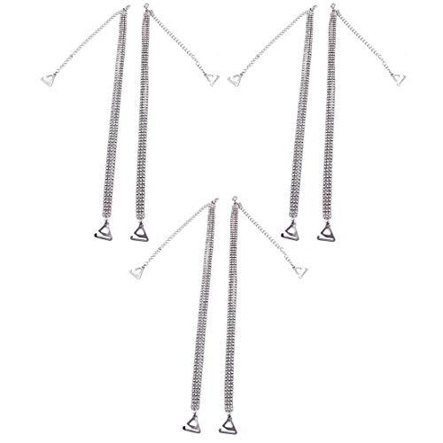 Aiweijia De las mujeres 3 Paquetes Ajustar el Sujetador Correas de Sujetador Invisibles Crystal Clear Tres filas
